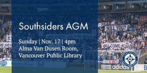 Southsiders AGM - Sunday, November 17th, 4pm @ Alma VanDusen Room